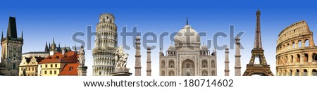 travelings background with famous landmarks  - stock photo
