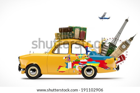 Travelling by car. Famous monuments of Europe - stock photo
