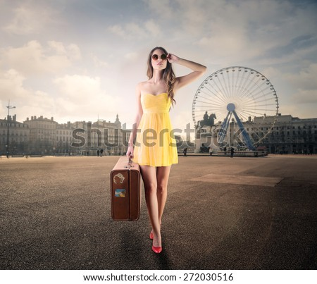 Travelling in a big city - stock photo