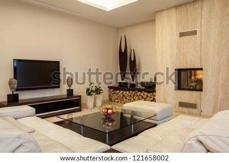 Travertine house: Creative solutions for your home interior - stock photo