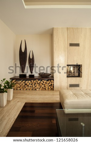 Travertine house: Vertical view of living room interior - stock photo