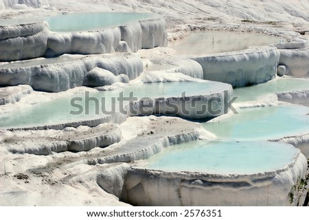 Travertine pools and terraces, Pamukkale, Turkey - stock photo