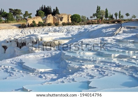 "Travertine terraces at Pamukkale ,Turkey. Pamukkale, meaning ""cotton castle"" in Turkish. - stock photo"