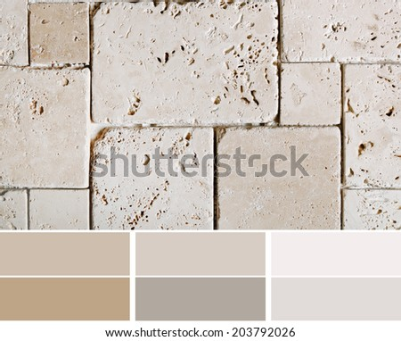 travertine tiles  color palette swatches with complimentary - stock photo