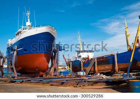 Trawlers at the drydock seen in Reykjavik, Iceland - stock photo