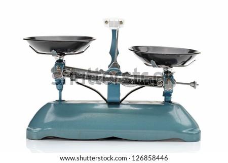 Tray balance on white background - stock photo
