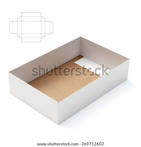 Tray Box with Die-cut Template - stock photo