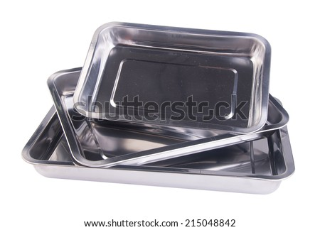 Tray. metal empty tray on a background - stock photo