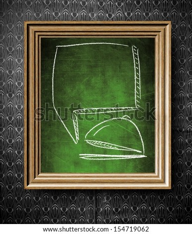 Tray with copy-space for menu chalkboard in old wooden frame on vintage wall - stock photo