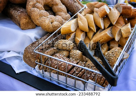 Tray with delicious sliced bread  - stock photo