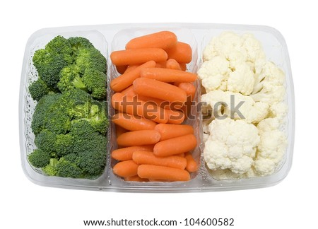 tray with fresh broccoli, carrots and cauliflower on a white background - stock photo