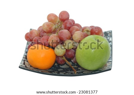 Tray with fruits isolated on white background - stock photo