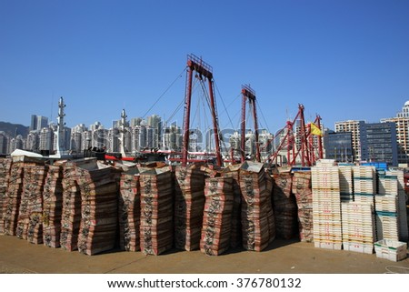 trays for seafood in port for fishing boats in China - stock photo