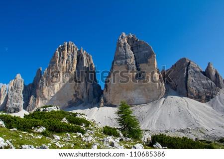 """Tre Cime di Lavaredo """" Drei Zinnen """" - Dolomite - Italy (unesco natural world heritage in Italy) - stock photo"""