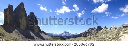 Tre cime di Lavaredo panoramic view - Dolomitics landscapes. Location: Europe, Italy, Trentino Alto Adige. - stock photo