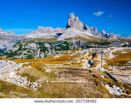 Tre Cime from Monte Piana, Dolomites - stock photo