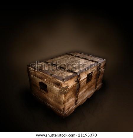 Treasue box grunge scene - stock photo