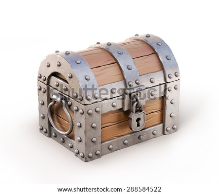 treasure chest 3d illustration - stock photo