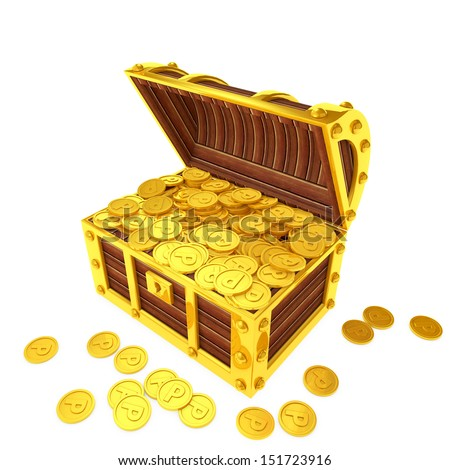 Treasure chest filled with point coins