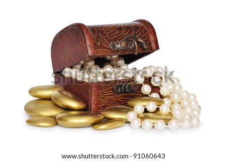Treasure Chest full of jewelry with golden stones around it isolated over white background