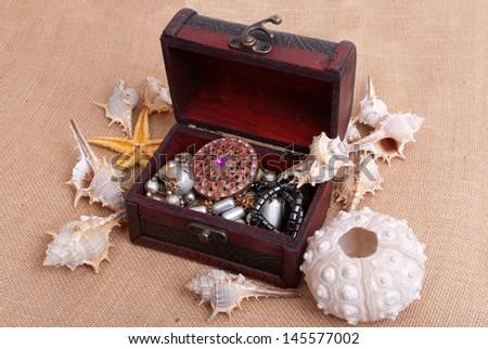 treasure chest in sea - stock photo
