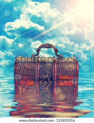 treasure chest in water - stock photo