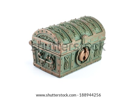 Treasure chest isolated on white - stock photo