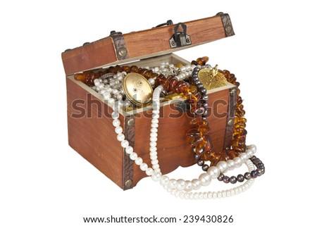 Treasure chest isolated on white background - stock photo