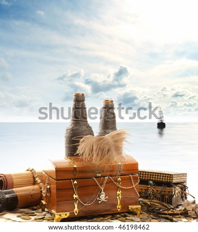 Treasure chest isolated on white background - stock photo