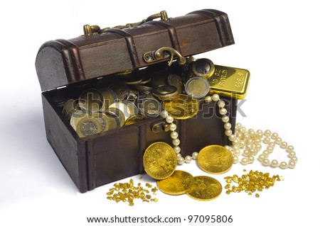 treasure chest with euro money and gold - stock photo