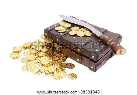 Treasure chest with gold coins and wood handled dagger - path included