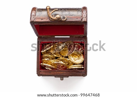 treasure chest with gold coins isolated on white