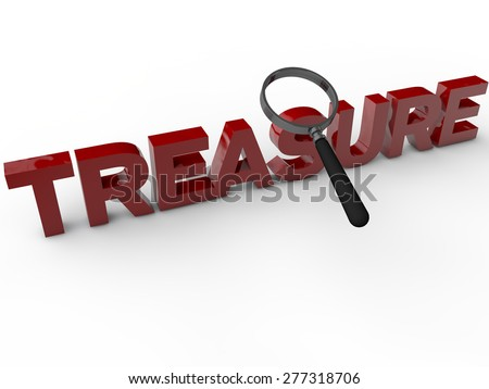Treasure - 3D Text over white Background