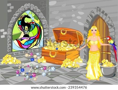 Treasure house with beautiful oriental Princess - stock photo