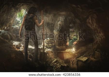 treasure hunters in search of the true treasures - stock photo