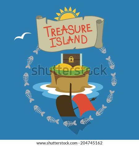 Treasure island design Raster version - stock photo