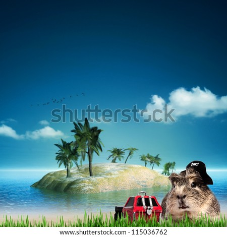 treasure Island. Funny  sea and ocean backgrounds - stock photo