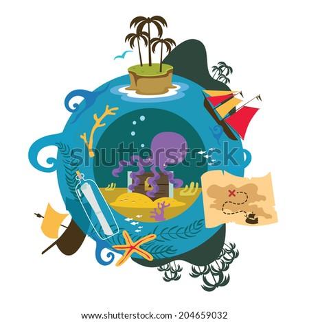 Treasure island game illustration Raster version - stock photo