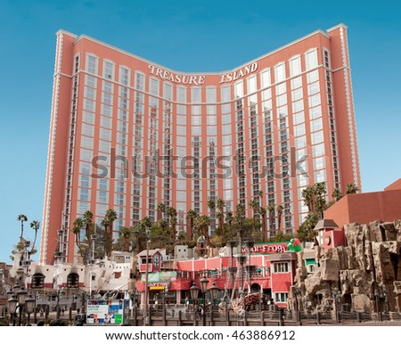 Treasure Island, Las Vegas - January 13, 2016: Treasure Island opened in 1993. It has 2,884 rooms with a total of 95,000 sq ft in gaming space.