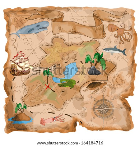 Treasure Island  map - stock photo