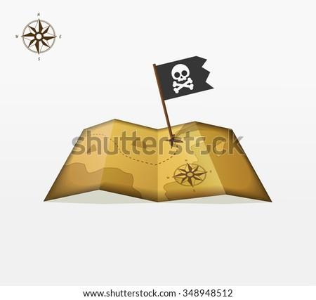 Treasure map illustration with coordinates, pirate flag symbol flat icon, skull crossbones, vintage compass badge, location, old retro ancient earth logo concept, isolated design ribbon label image - stock photo