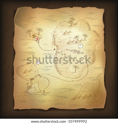 Treasure map on wooden background. Raster version. - stock photo