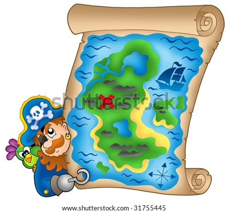 Treasure map with lurking pirate - color illustration.