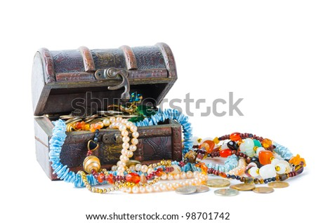 Treasure with precious stones and coins on a white background
