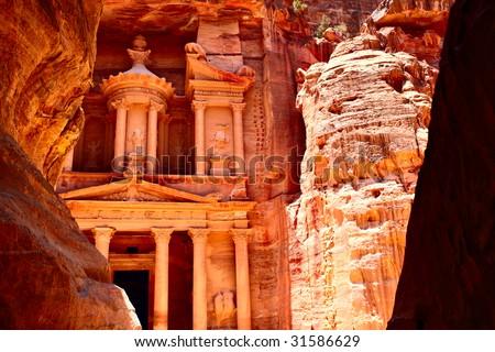 Treasury temple at Petra (Al Khazneh), Jordan - stock photo