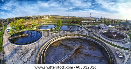 treatment plant panorama - stock photo