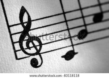 Treble clef and music sheet, diagonal image formation. - stock photo