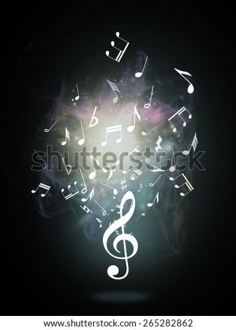 Treble clef or music symbol on black background - stock photo