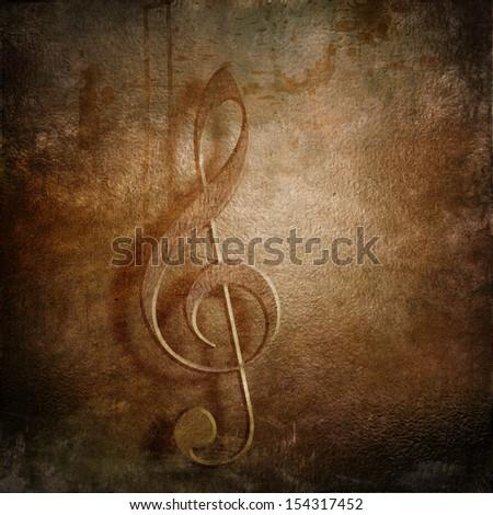 Treble clef  retro styled grunge background - stock photo