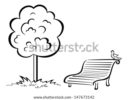 Tree and park bench with sitting bird, black contour isolated on white background. - stock photo